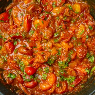 cherry tomato sauce in pan with cilantro 3