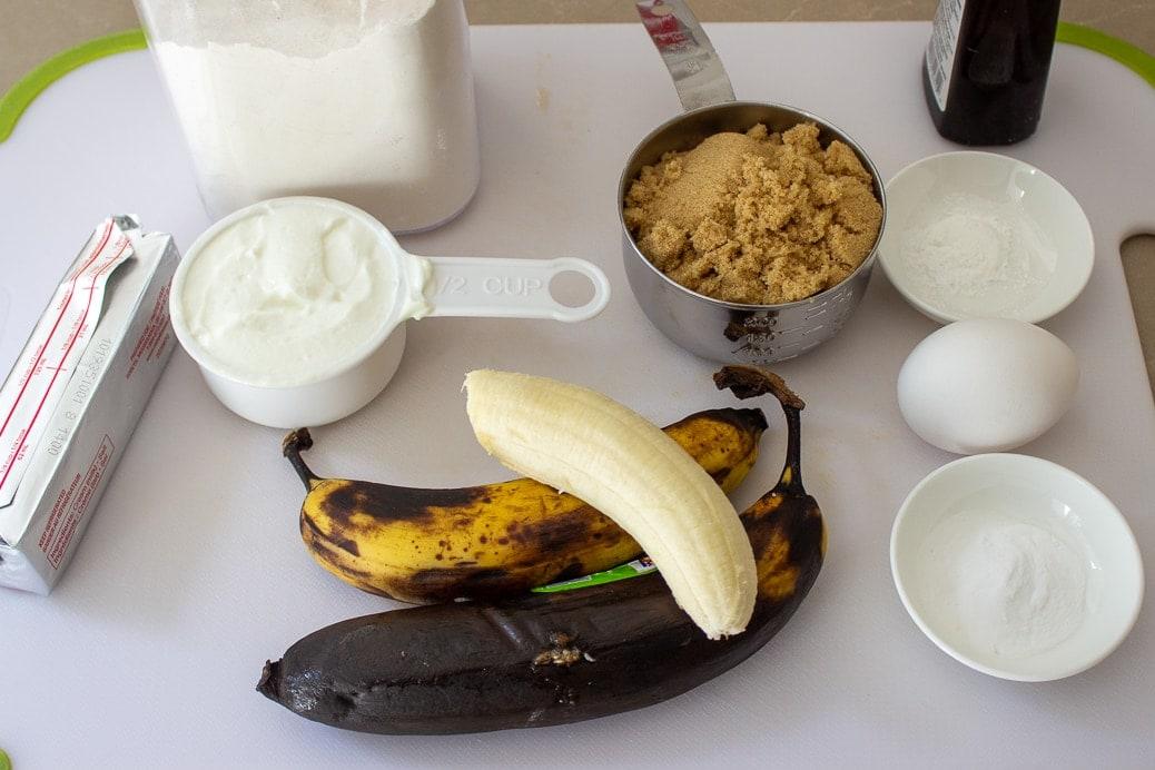 bananas, yogurt, butter, egg, brown sugar, flour, vanilla, baking soda, baking powder