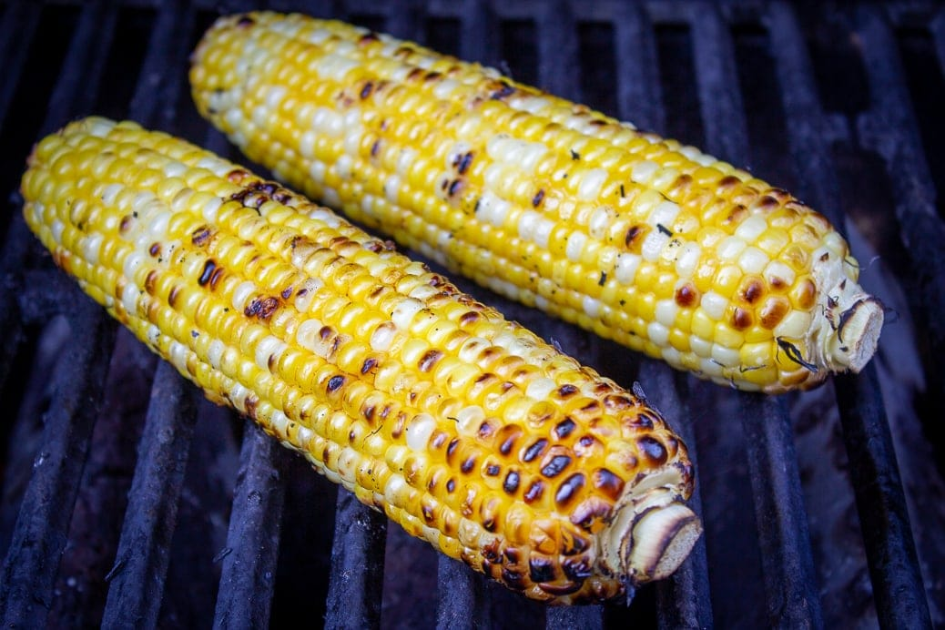 2 cobs of corn on grill