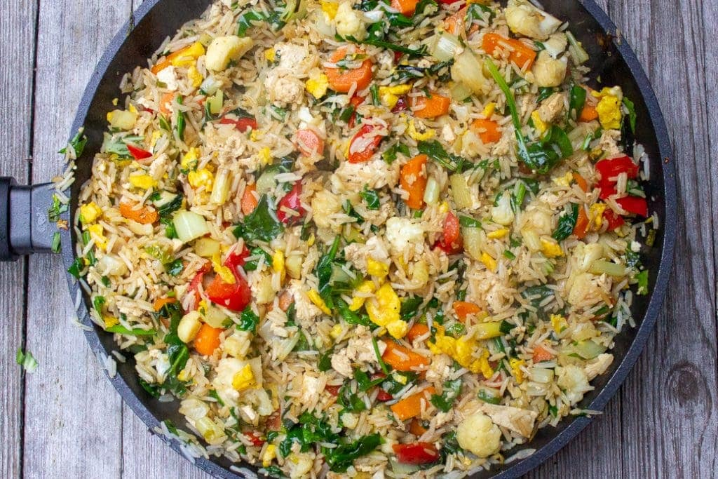Chinese vegetable fried rice in a pan