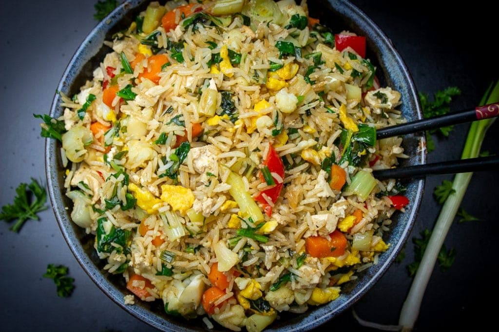 Chinese vegetable fried rice in a bowl 2