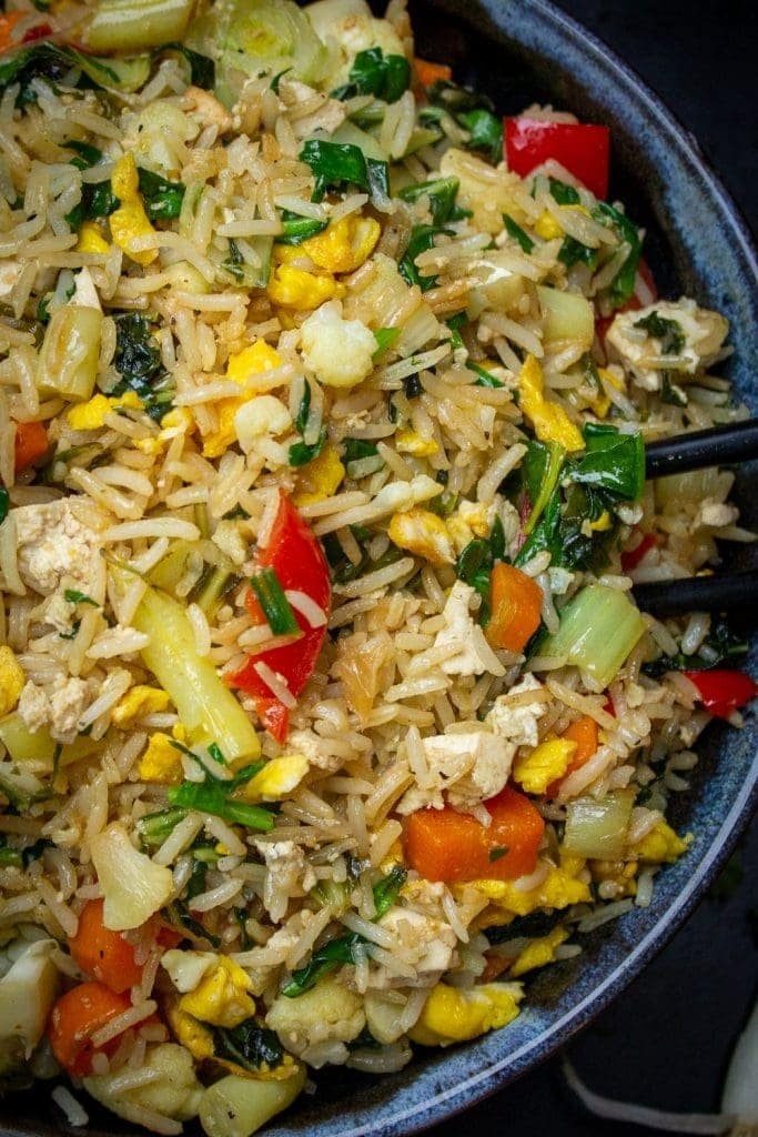 bowl of Chinese vegetable fried rice p