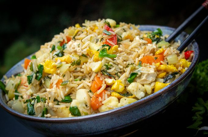 Chinese vegetable fried rice in a bowl