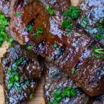 Korean beef short ribs after grilling on cutting board 0