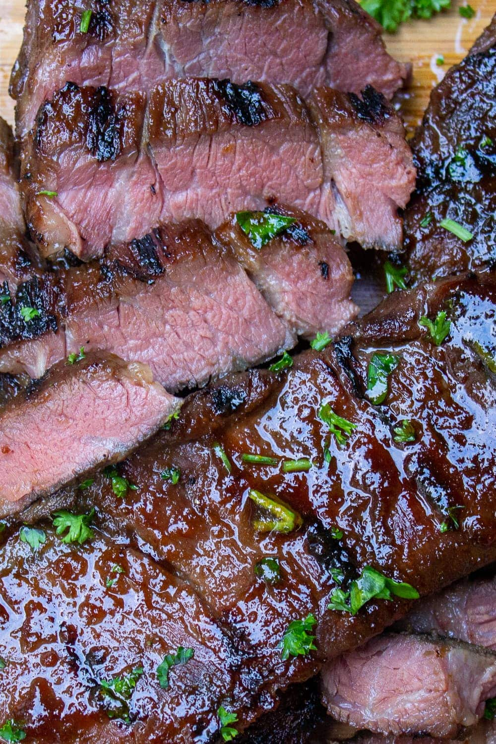 sliced sous vide Korean beef short ribs on cutting board p