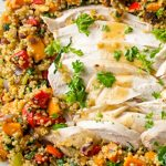 turkey surrounded by quinoa stuffing on plate p