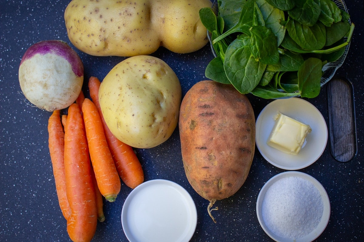 white and sweet potatoes, turnip, carrots, butter, cream, salt, spinach