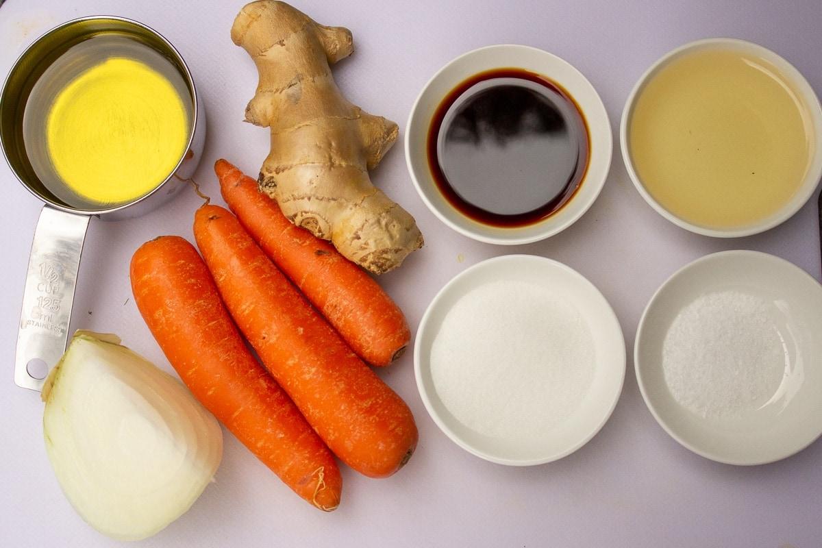 carrots, ginger, onion, oil, soy, rice vinegar, sugar, salt