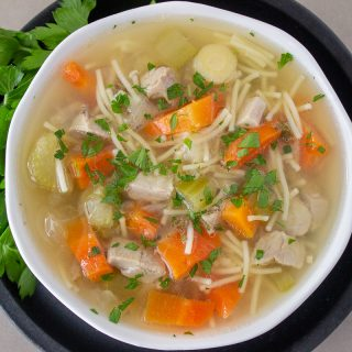 bowl of turkey soup with noodles 1