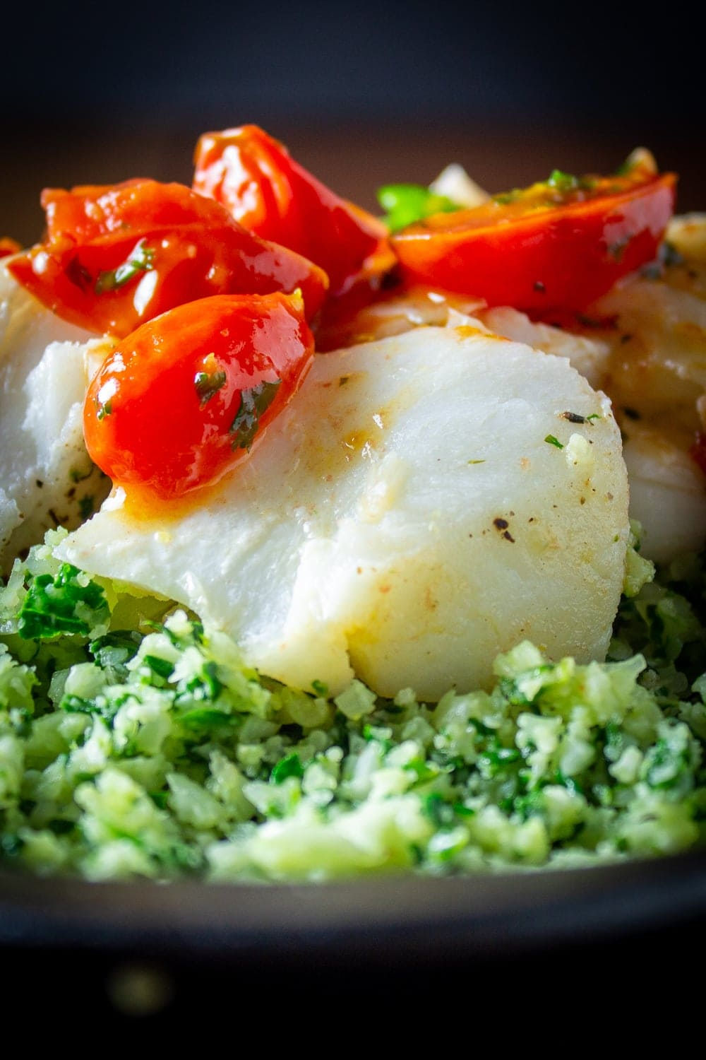 baked cod fillets covered with cherry tomato sauce over cauliflower spinach rice p3