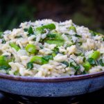 bowl of Lemon Asparagus Risotto side view f