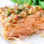 inside piece of pecan crusted salmon on plate p2