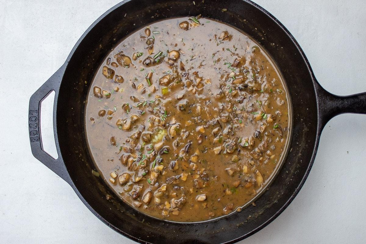 mushroom sauce in pan