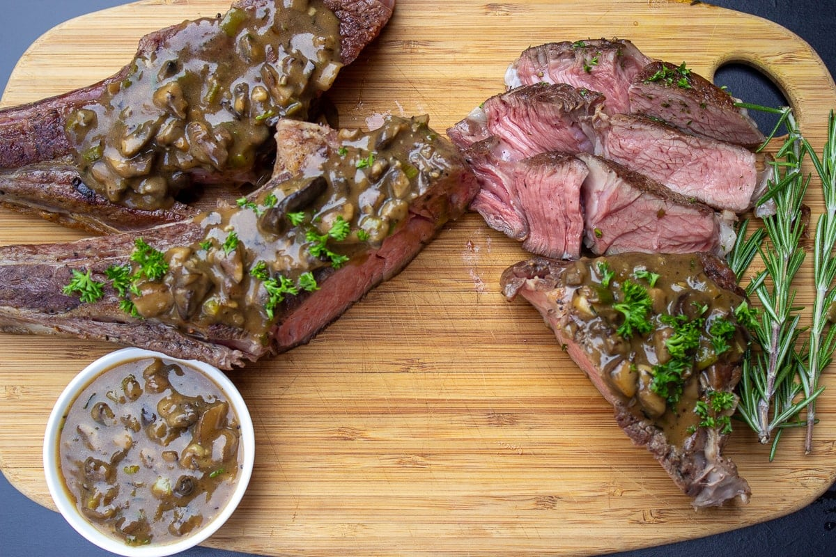 Sous Vide Veal Chops with Mushroom Sauce