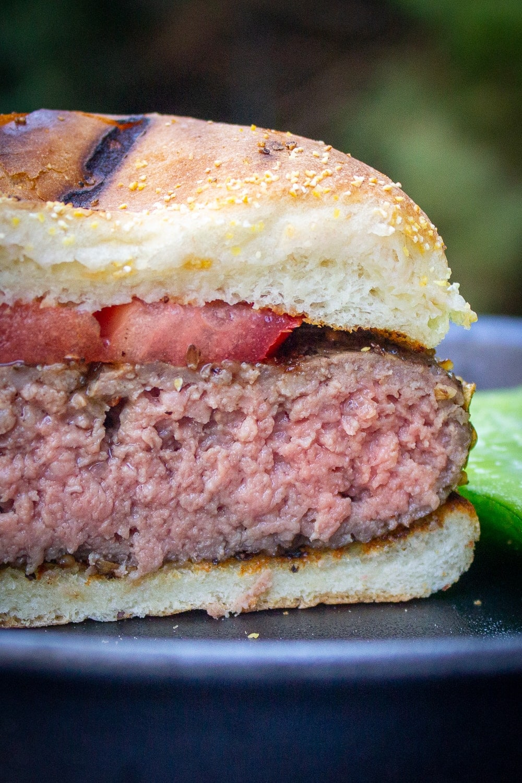 half sous vide burger on cutting board p