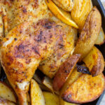 roasted chicken and potatoes in skillet p2