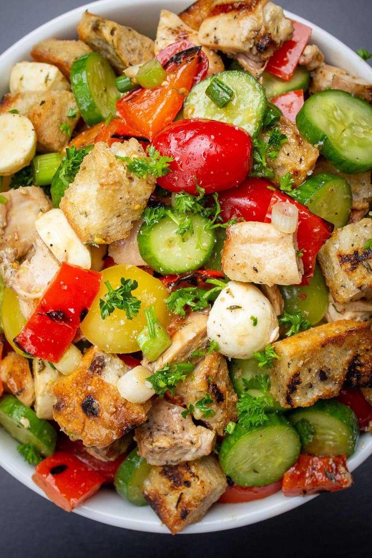Panzanella Salad with chicken in bowl p