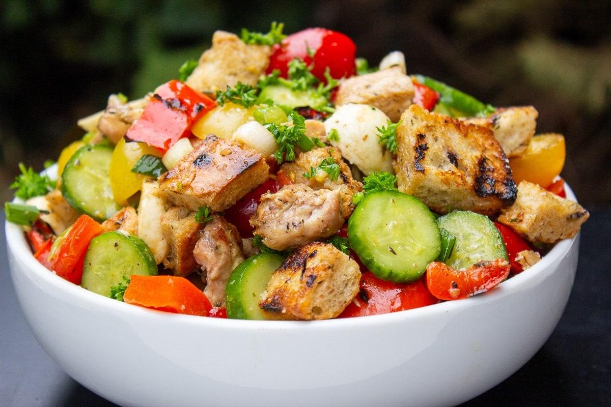 Panzanella Salad Recipe with Grilled Chicken