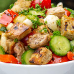 Panzanella Salad Recipe with Grilled Chicken in bowl p1