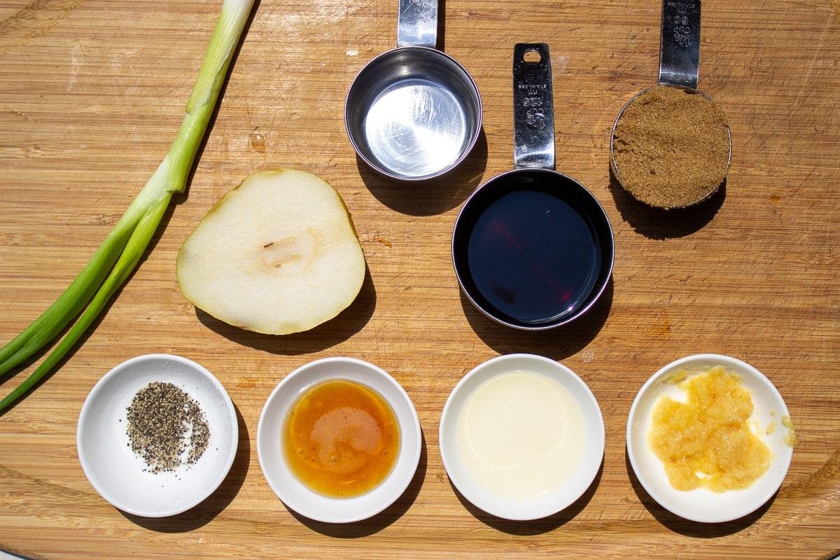brown sugar, soy, water, garlic, rice vinegar, pepper, green onion, pear, sesame oil