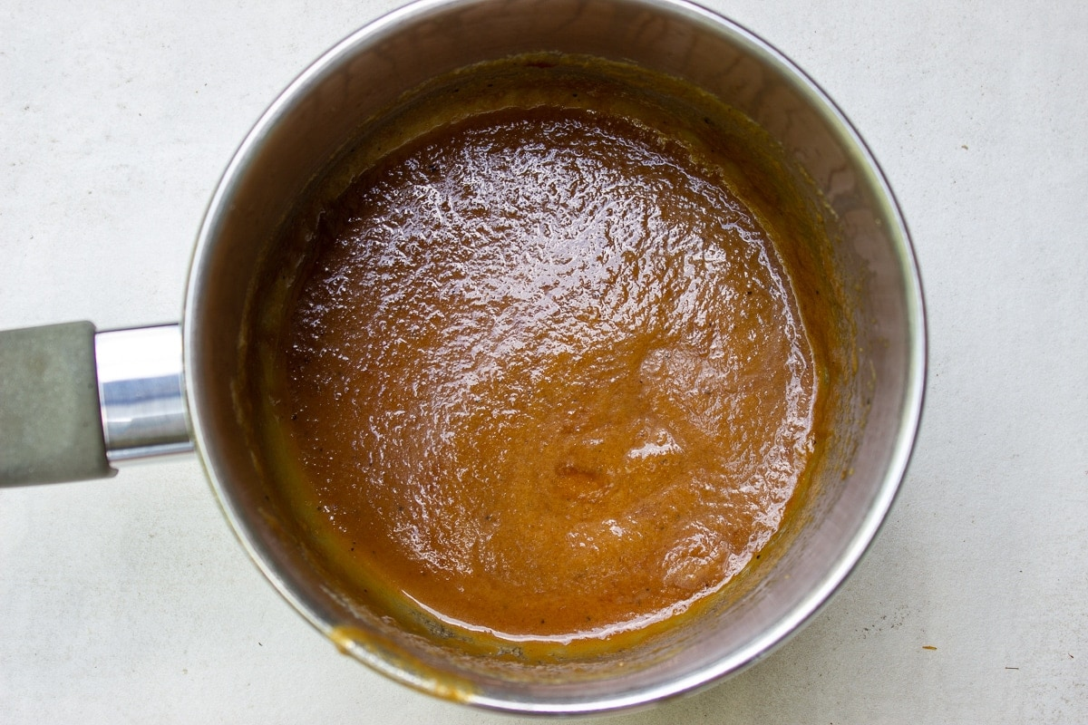 marinade cooked down in pot