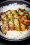 cooked chicken bulgogi on plate with rice p