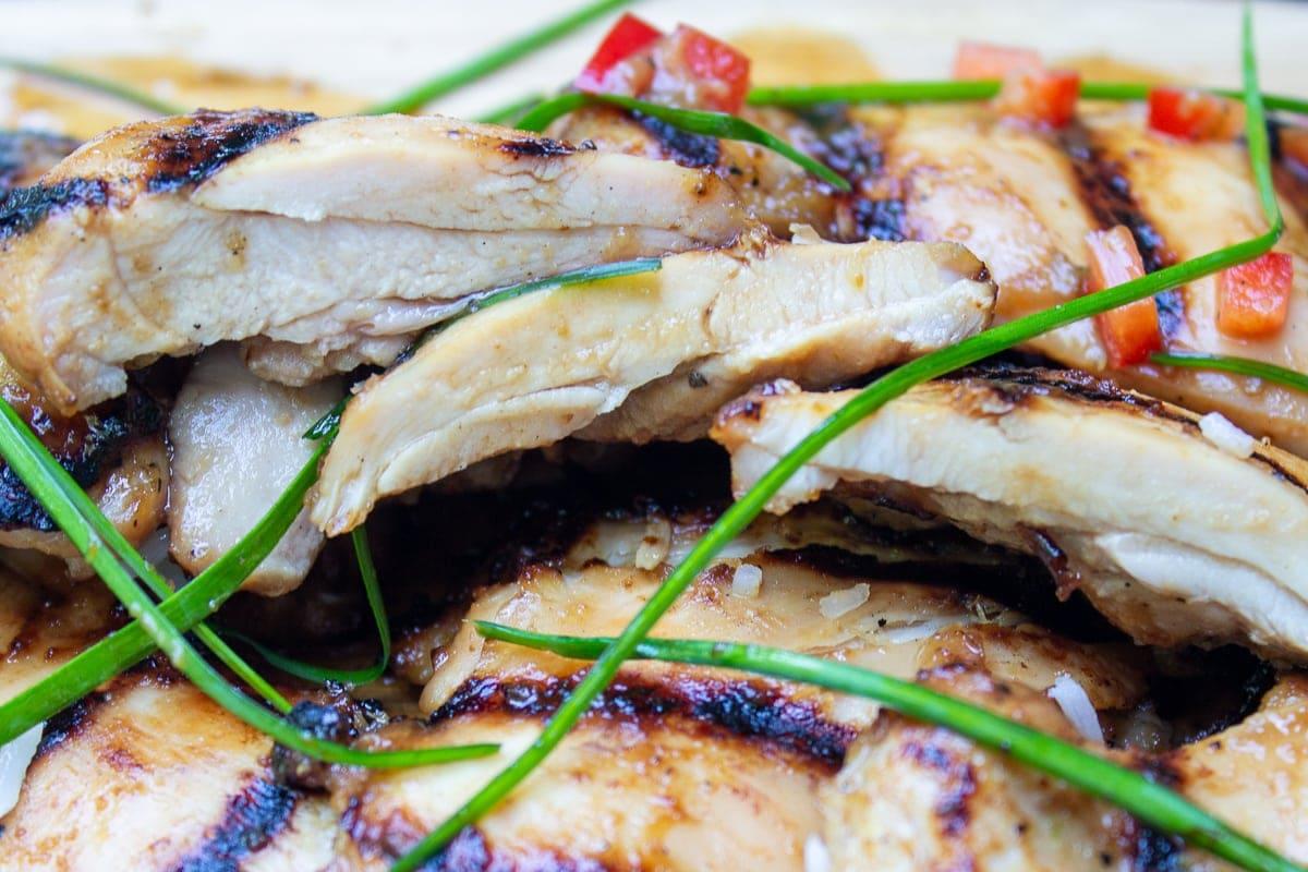 cut open pieces of chicken