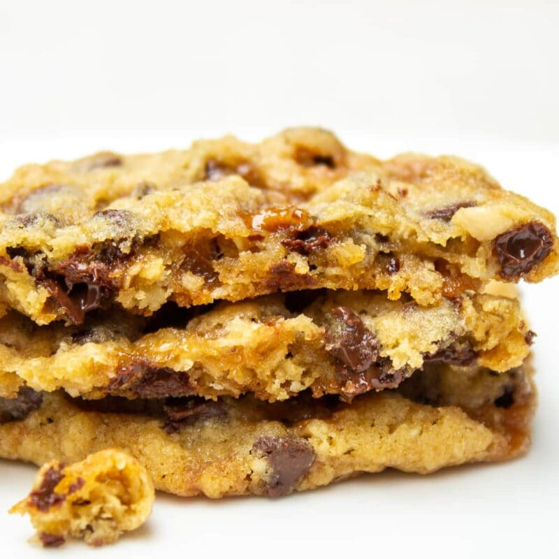 stacked chocolate chip toffee cookies broken in half-ff