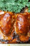 cooked thighs on plank resting p