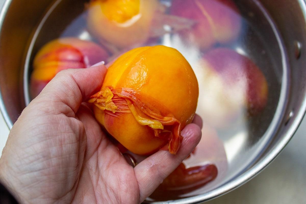 skin of peach slipping off