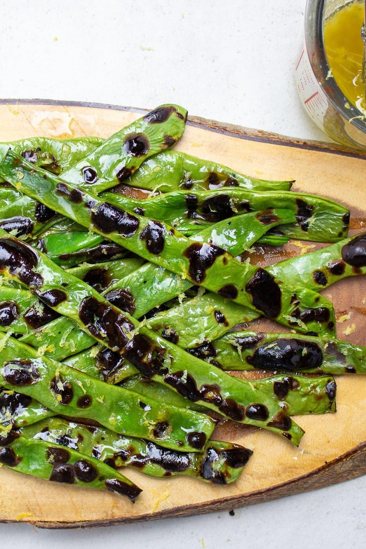 charred green beans on platter p
