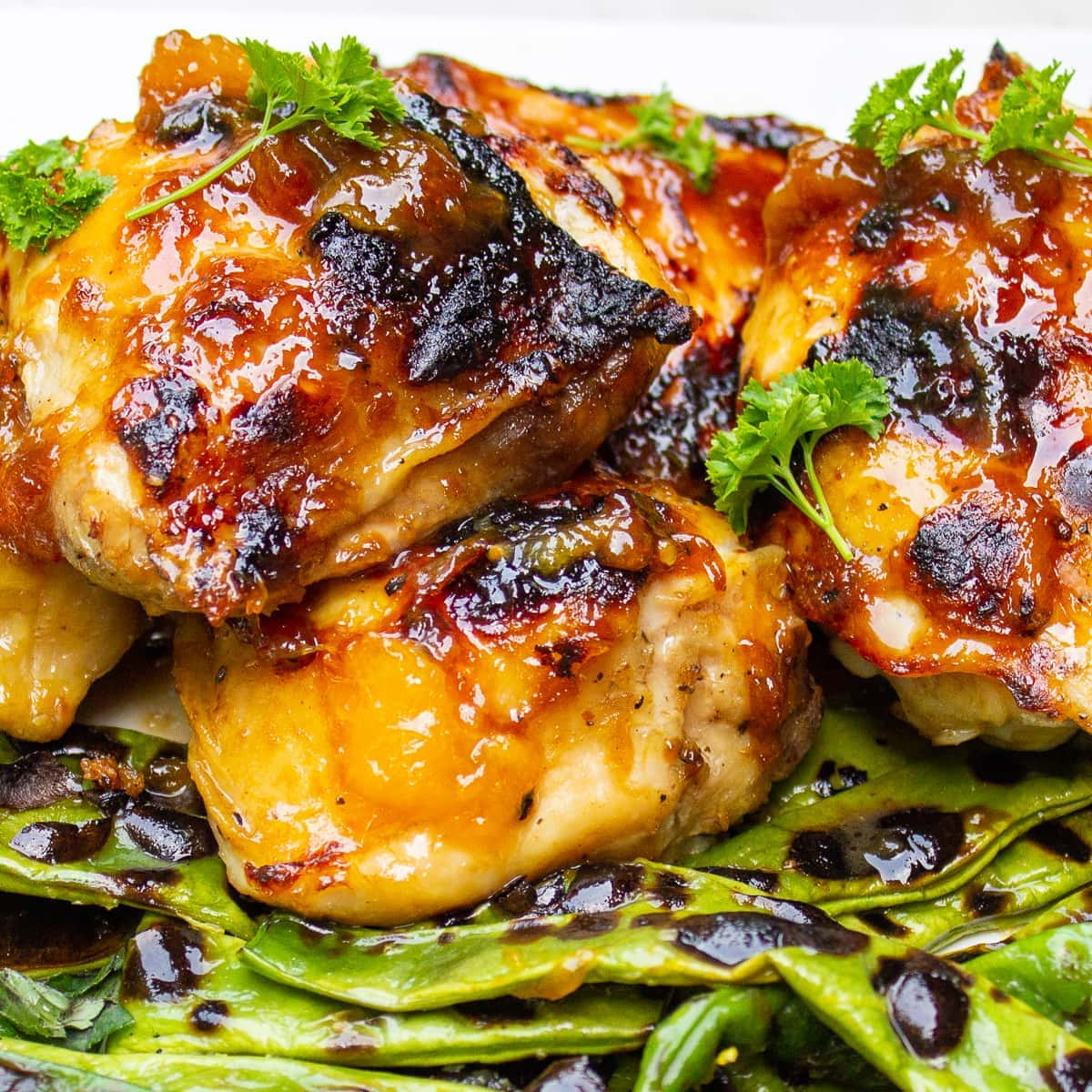 glazed chicken thighs with green beans on plate2