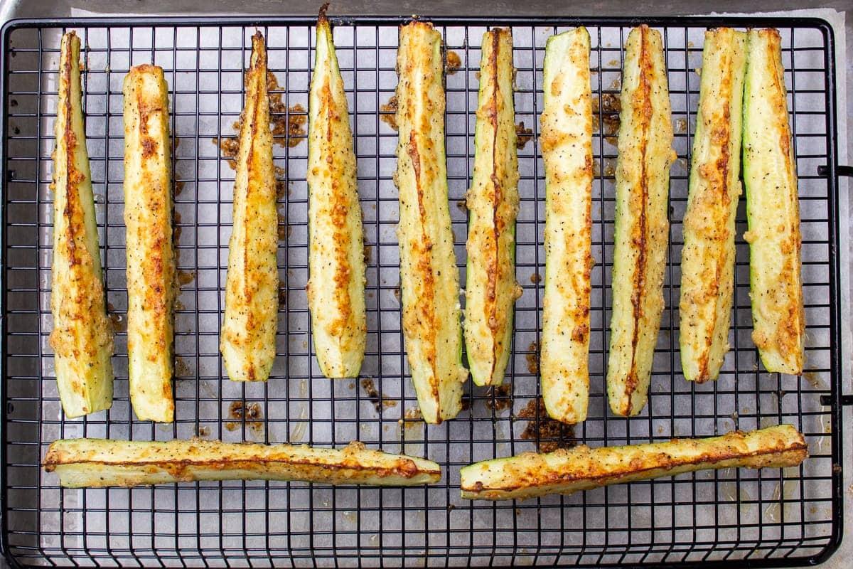 roasted zucchini spears on rack
