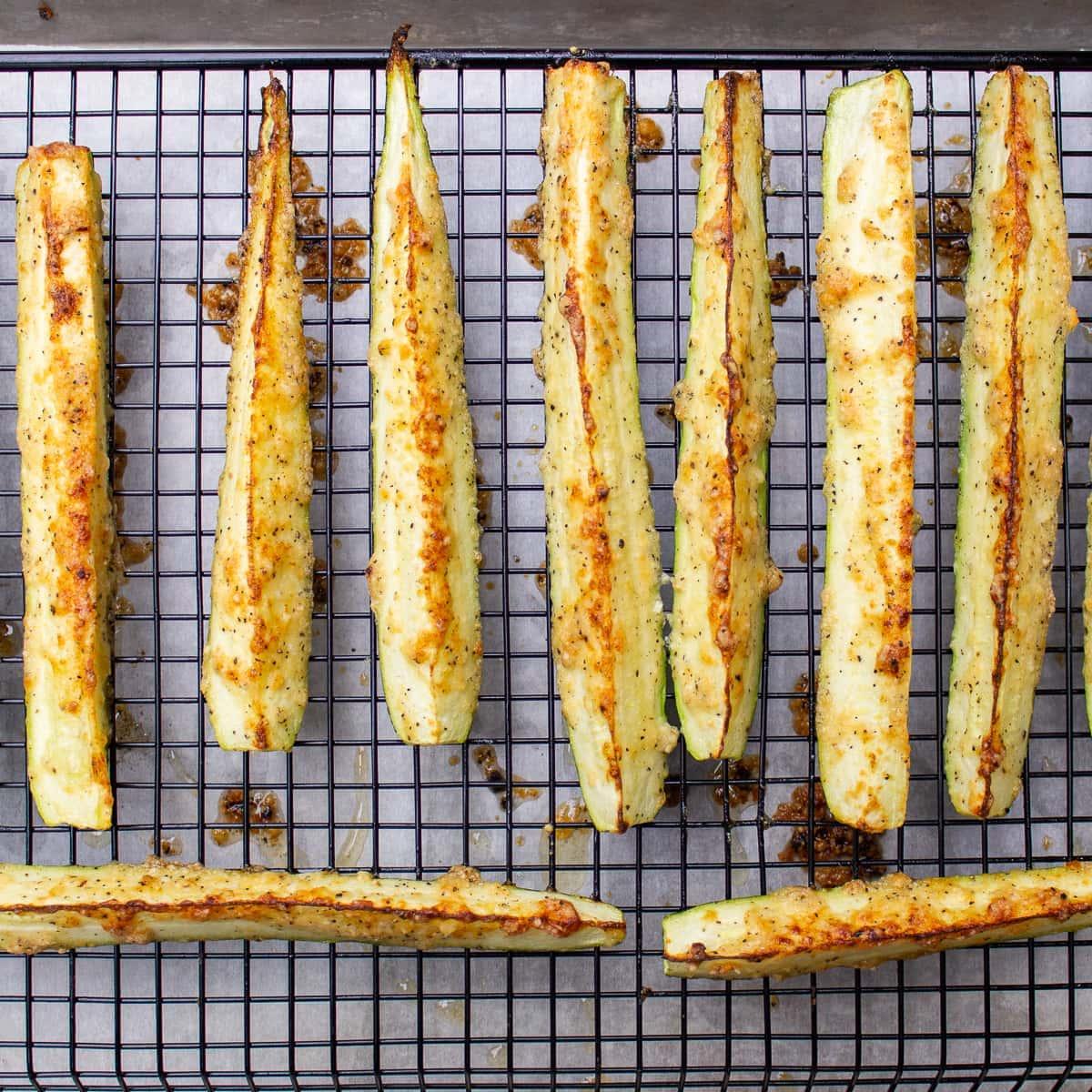 roasted zucchini spears on rack-1