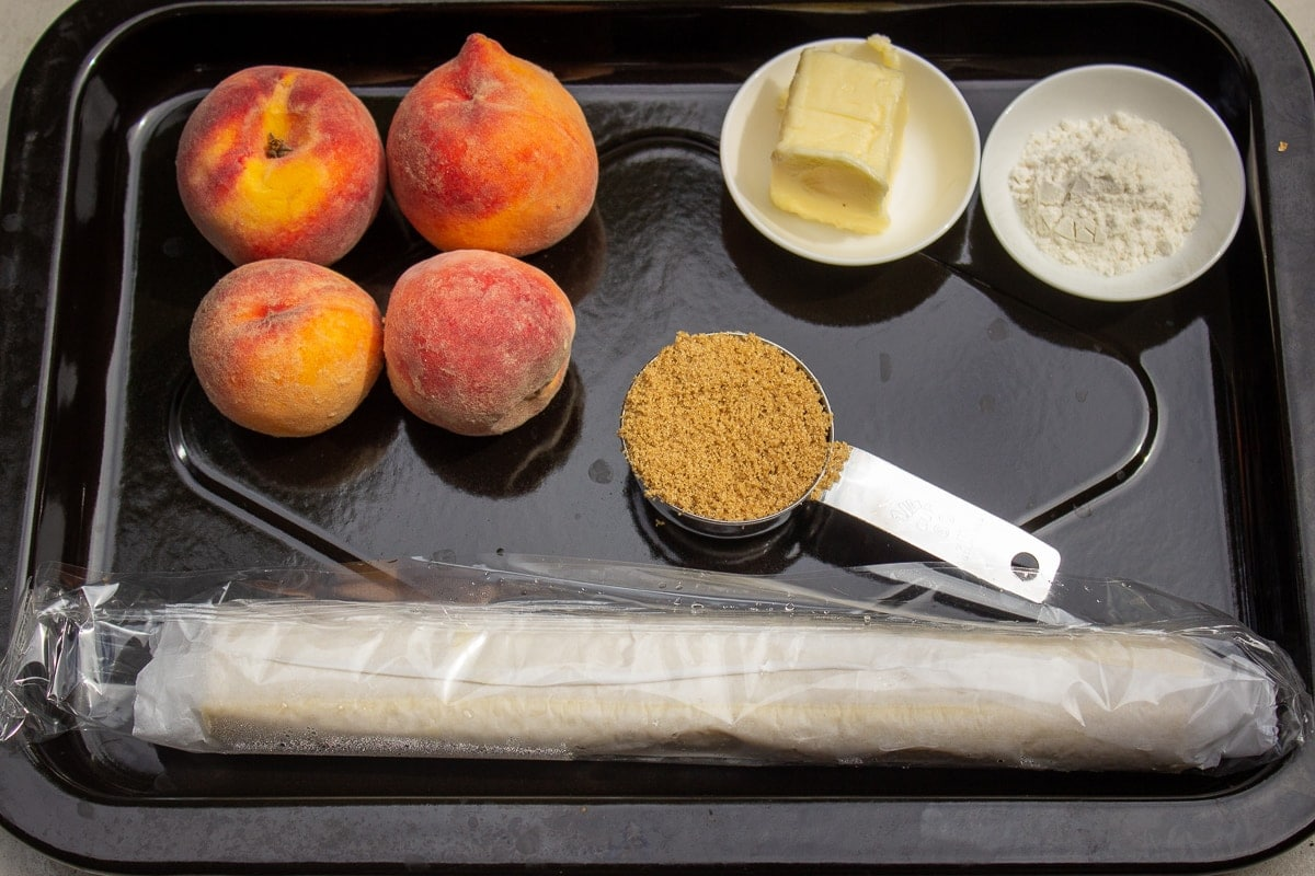 peaches, butter, brown sugar, flour, puff pastry