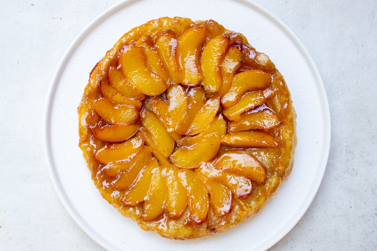 finished peach tarte titin on plate 5