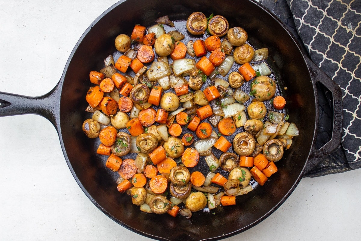 sauteed vegetables in pan