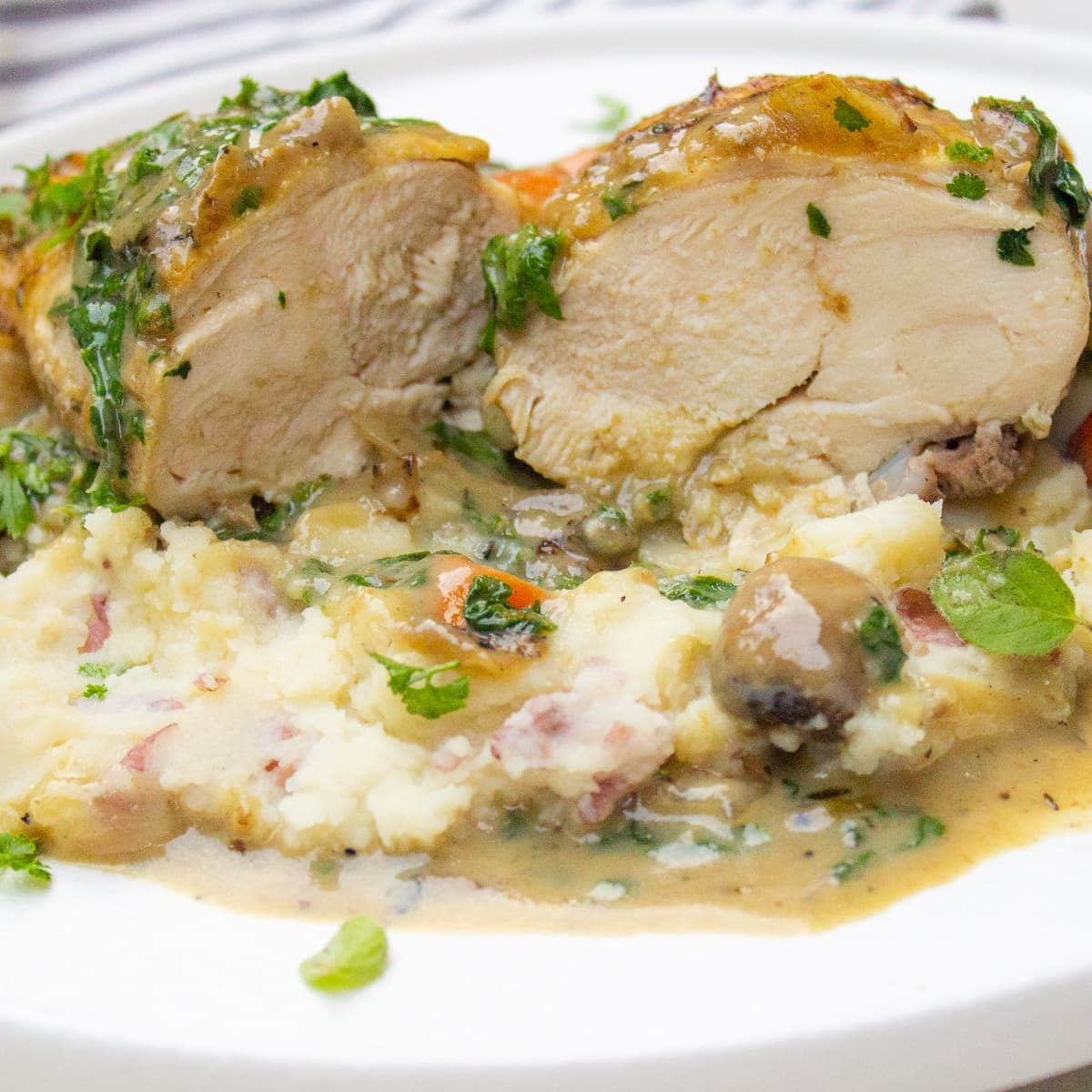 piece of chicken fricassee on mashed potatoes