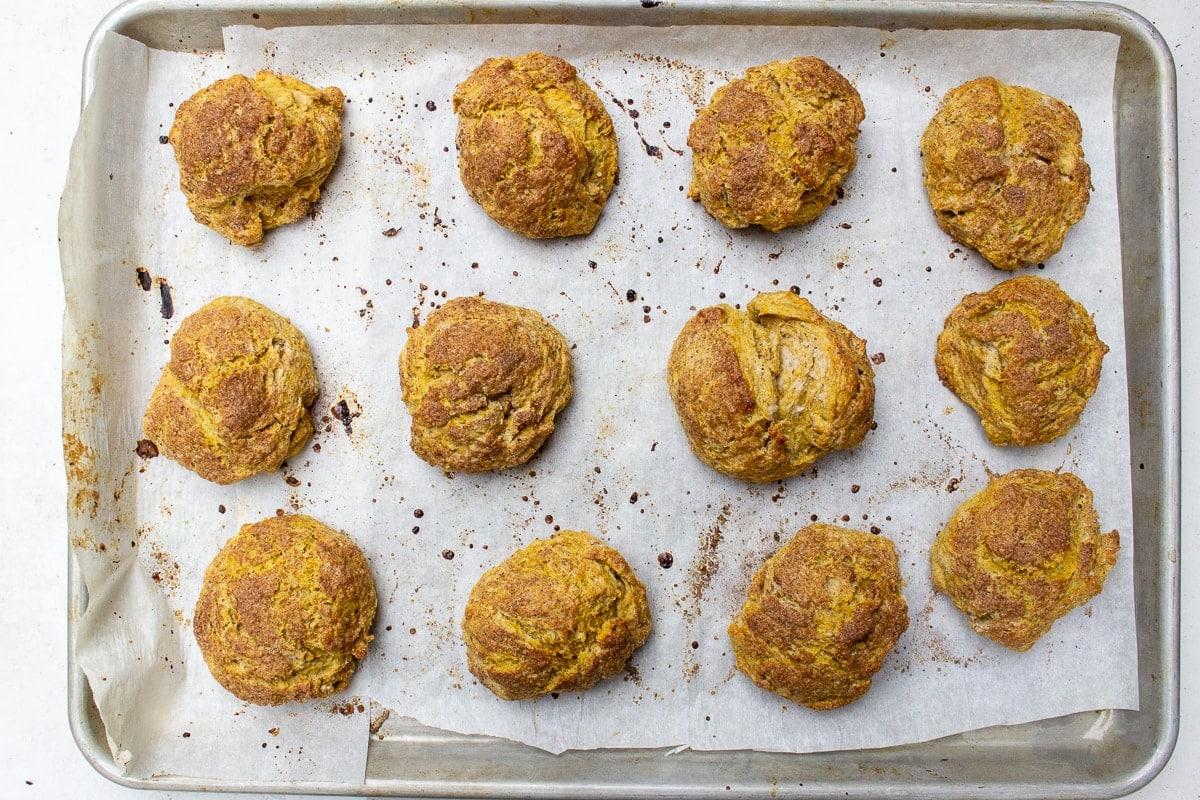 baked pumpkin scones on pan