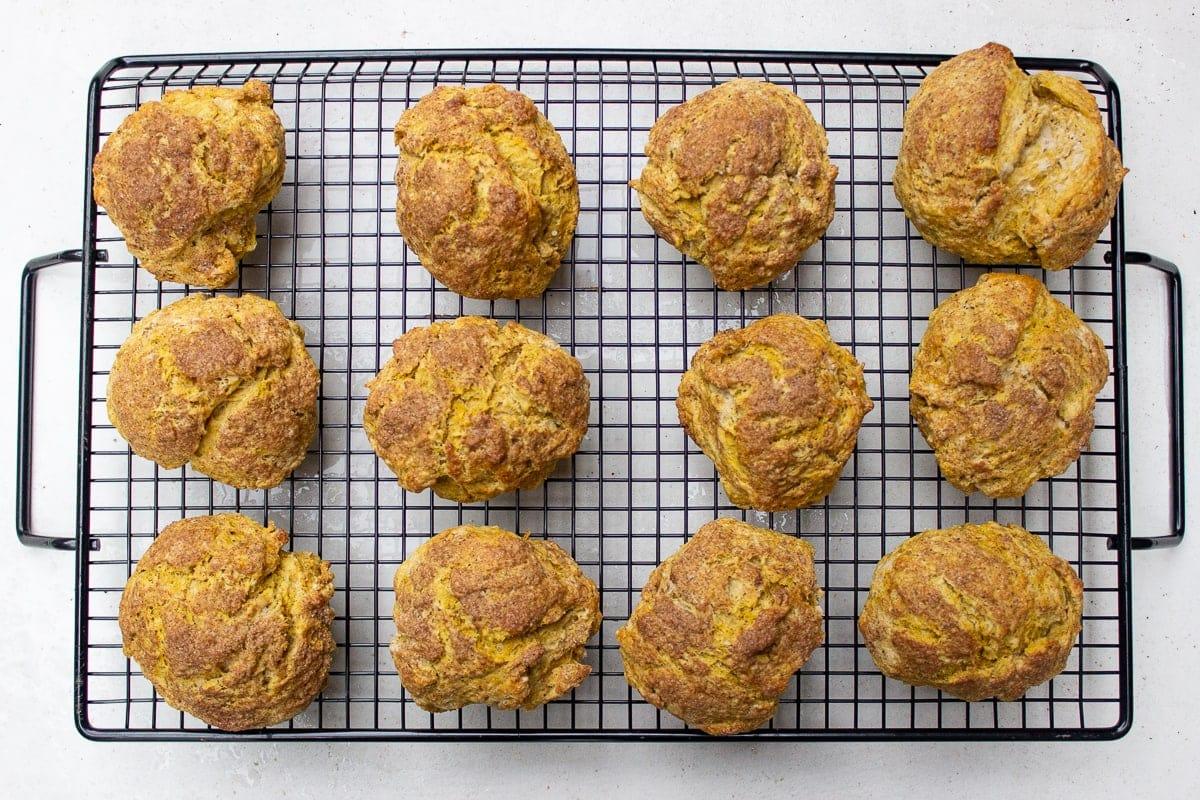 baked pumpkin scones on rack