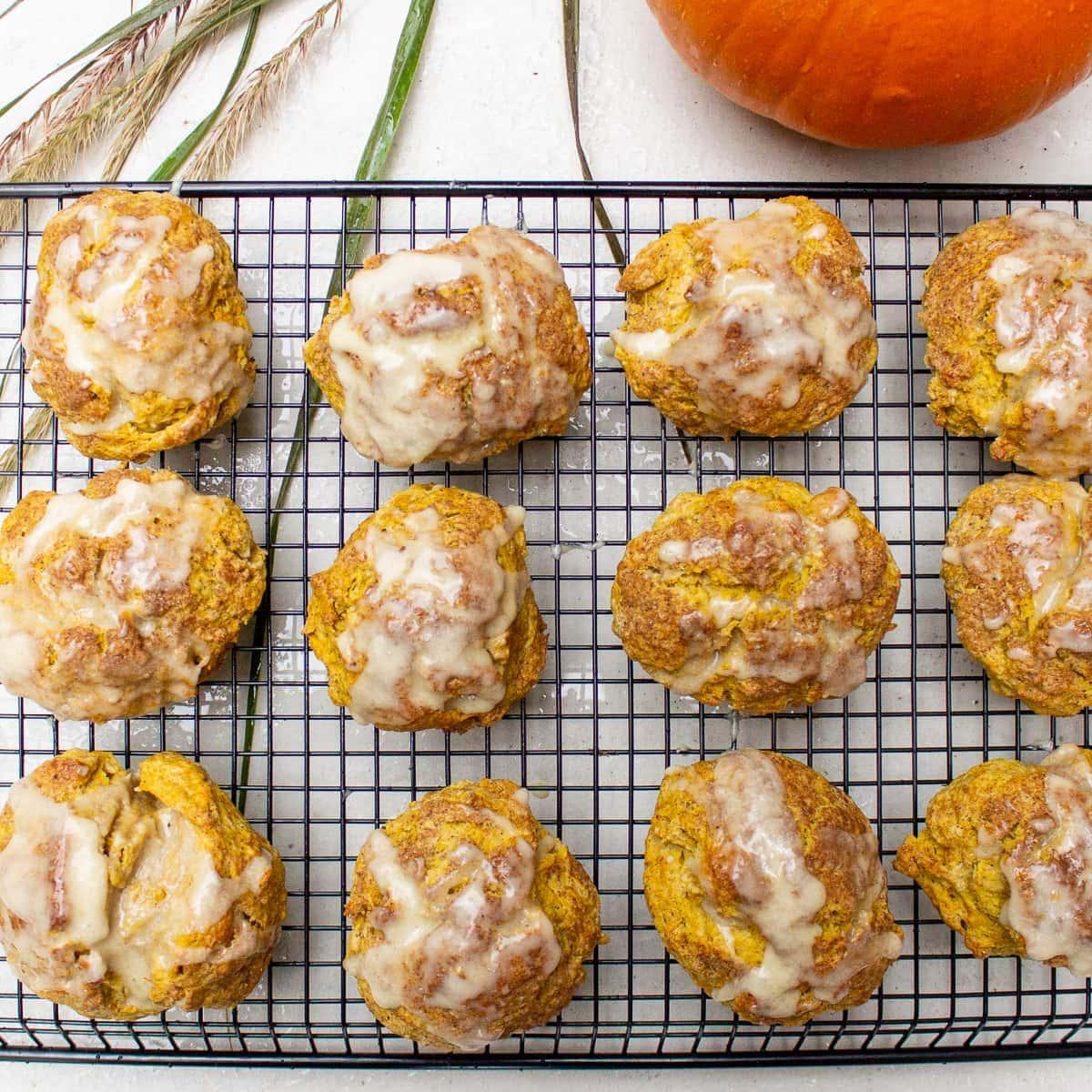 glazed pumpkin scones on rack