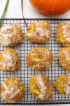 glazed pumpkin scones on rack p