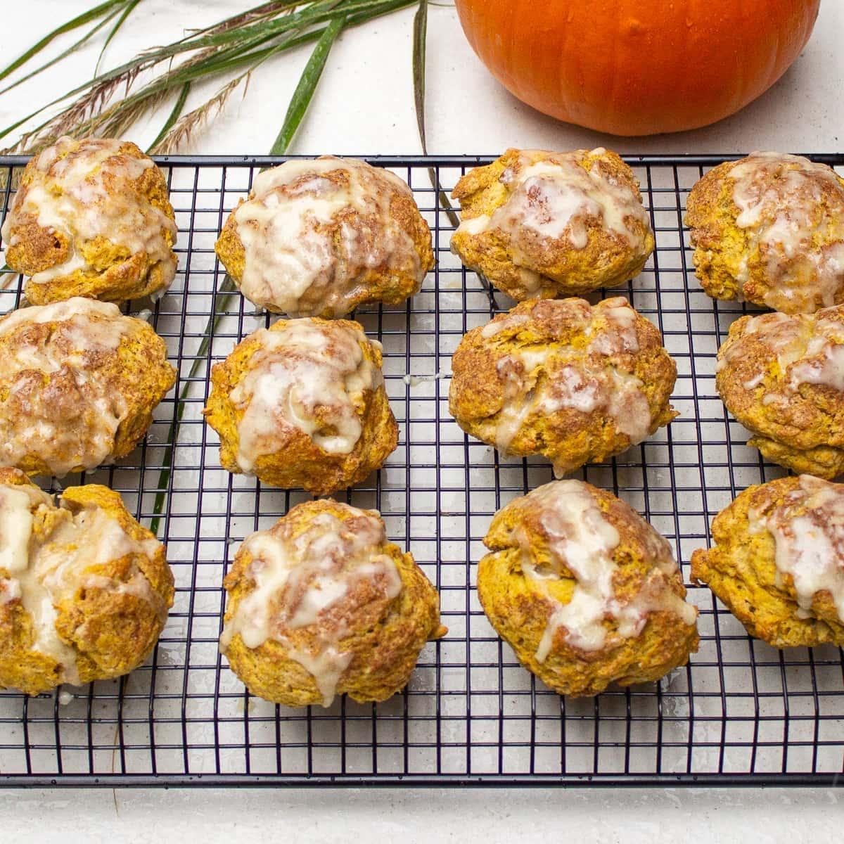 glazed pumpkin scones on rack 3