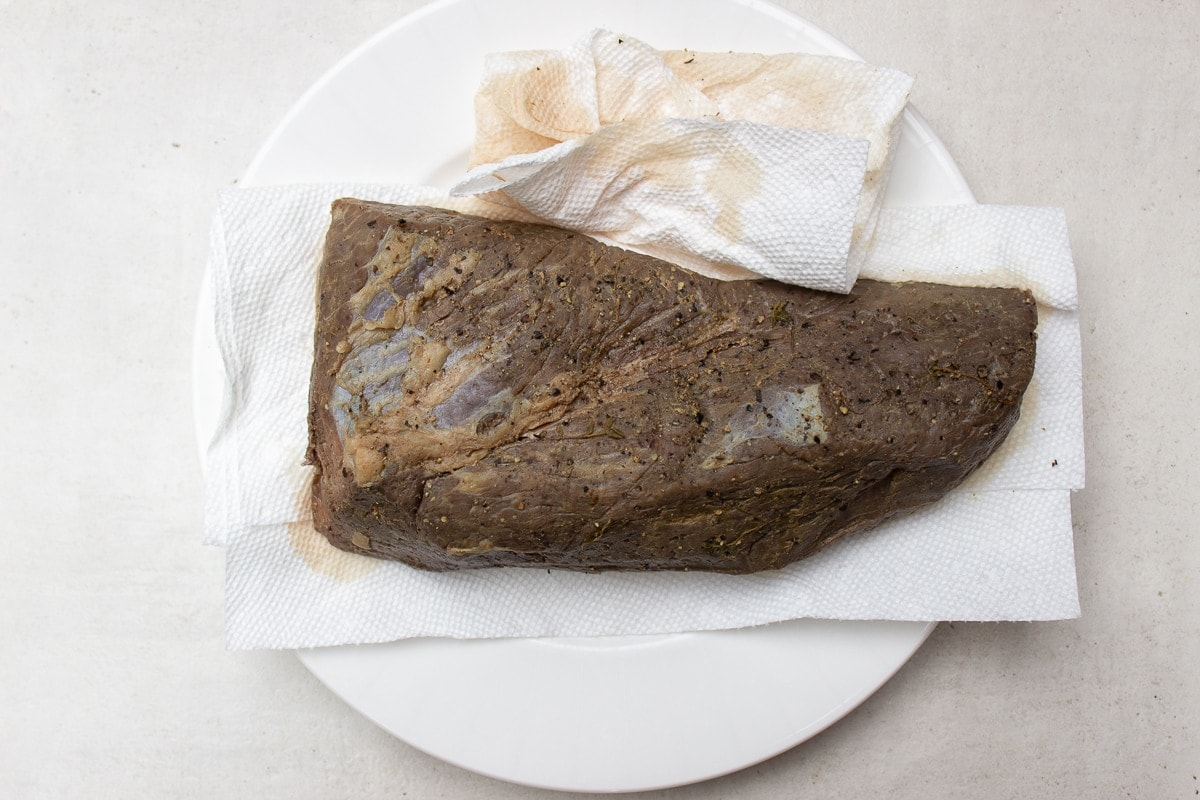 tri tip dried with paper towels