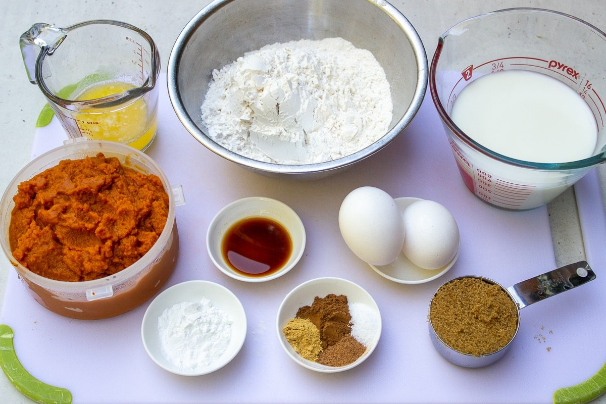 flour, eggs, butter, milk, pumpkin puree, vanilla, baking powder, seasonings, brown sugar