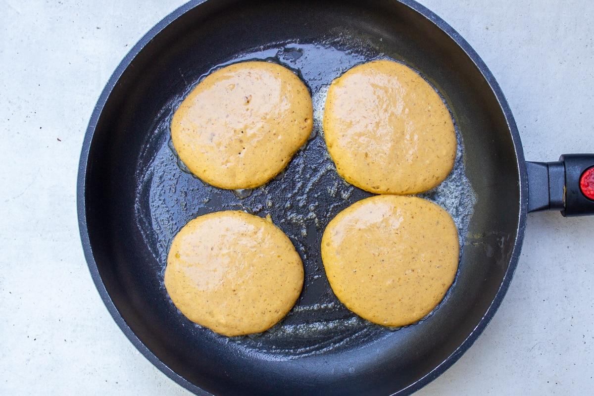 pumpkin pancakes batter in pan
