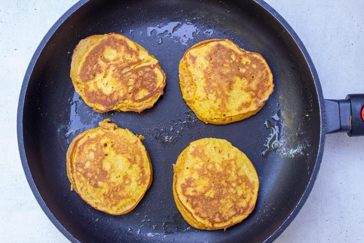 pumpkin pancakes in pan