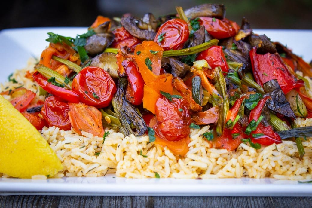 Roasted Veggies on Spiced Rice