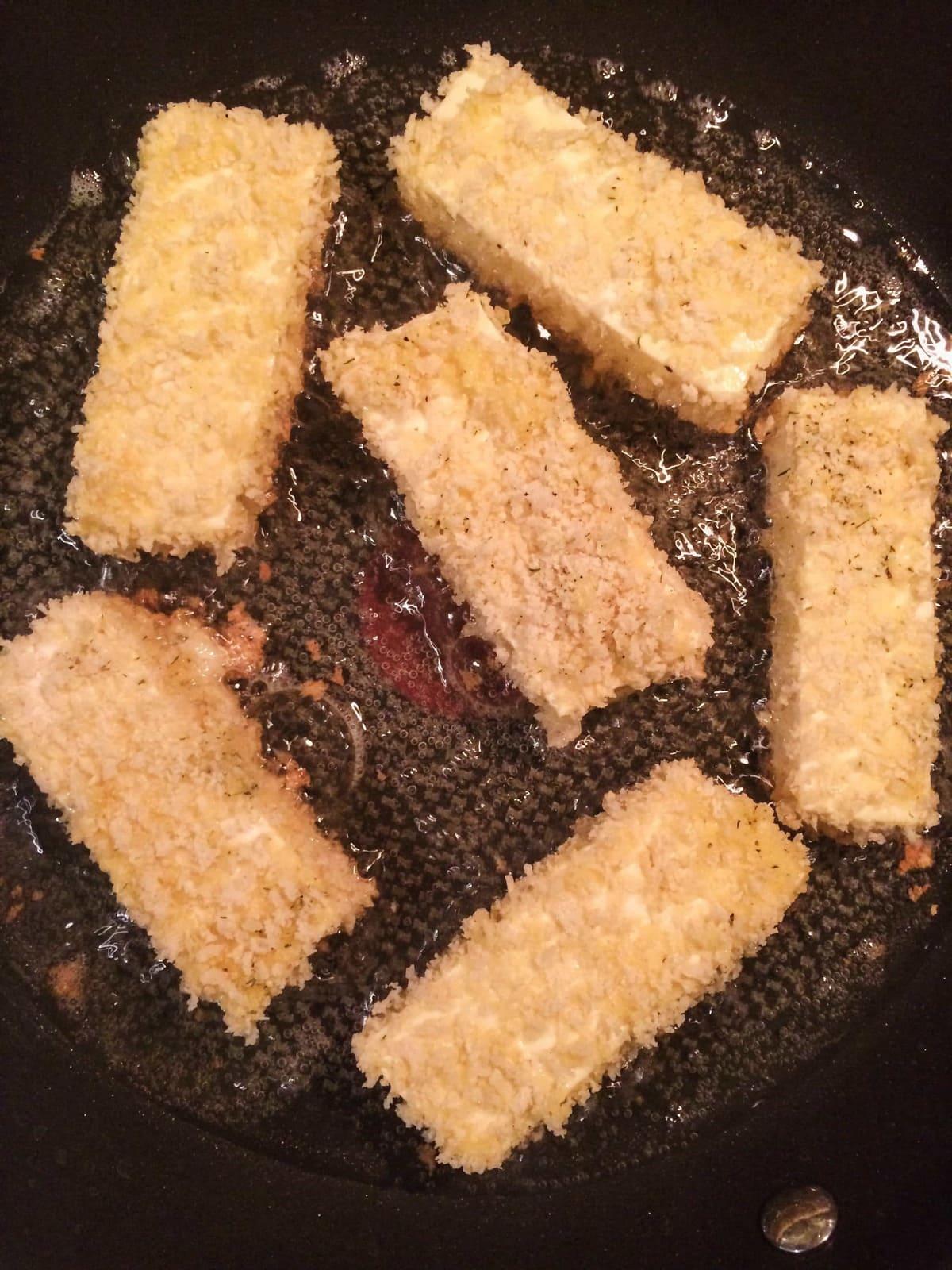 frying panko tofu